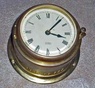 Vintage C1980 Made In Denmark Quartz Ships Brass Clock photo