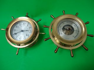 Seth Thomas Clock Helmsman E537 - 001 & Salem Barometer Compensated photo