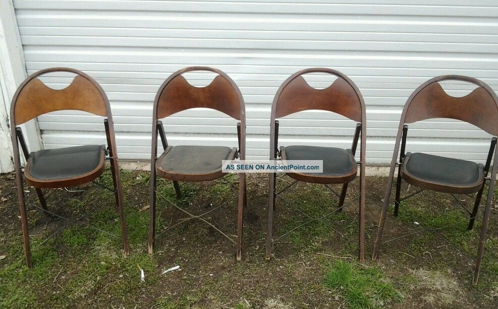 Vintage Wooden Art Deco Funeral, Church, Folding Chairs Solid Kumfort Ft  Wayne B