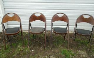 Vintage Wooden Art Deco Funeral,  Church,  Folding Chairs Solid Kumfort Ft Wayne B photo