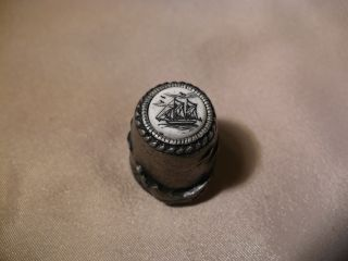 Scrimshaw Cow Bone - Pewter Thimble Schooner photo
