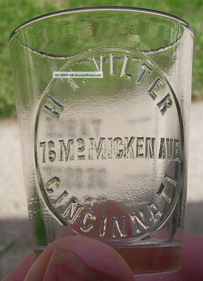 Antique Apothecary Medicine Dose Cup Shot Glass Advertising Ht Vilter Cincinnati Bottles & Jars photo