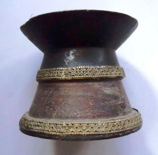 Old Vintage Hand Carved Wooden Candle Stand Decorative With White Metal Work photo