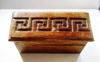 Old Vintage Hand Carved / Hand Crafted Wooden Hut Shaped Jewelry Box Decorative photo