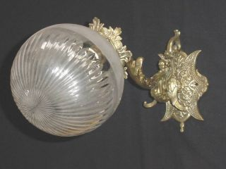 Antq Victorian Bronze Wall Sconce Crystal Globe 1 Light photo