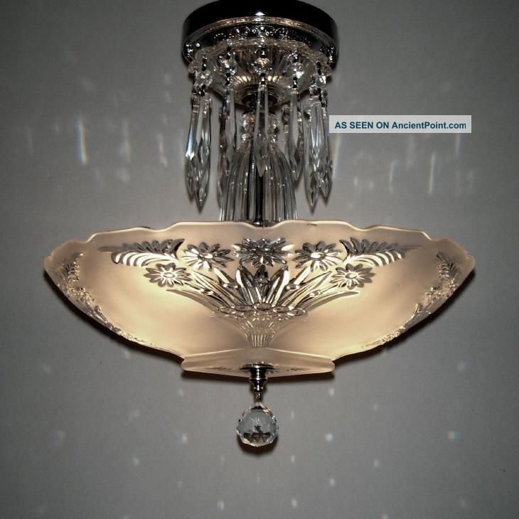 Vintage Art Deco Semi Flush Mount Ceiling Light Fixture Fl Shade Chandelier