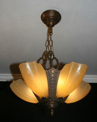 Antique Vintage 5 Light Slip Shade Art Deco Light Fixture Ceiling Chandelier photo