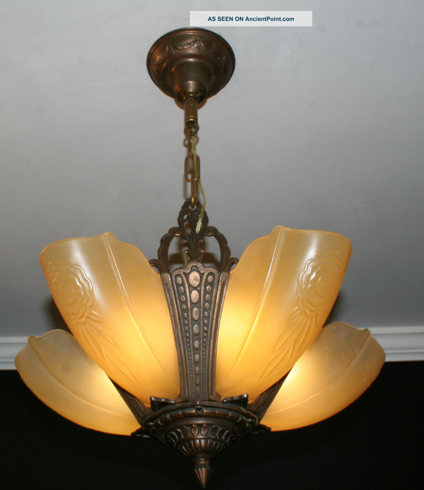 Antique vintage 5 light slip shade art deco light fixture for Old looking light fixtures