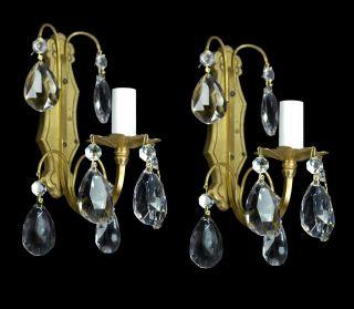 Pair Of Antique Sconces Brass Bronze Vintage Crystal Glass Regency Empire Petite photo