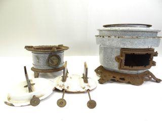 Antique Cast Iron Porcelain Enamel Georg Haller Gas Stove Body Parts Nr photo