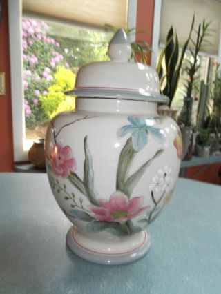 Hand Painted Asian Style Urn Vase And Lid With Floral Design photo