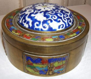 A Handsome Old Chinese Export Champleve Brass & Ceramic Shard Box,  5