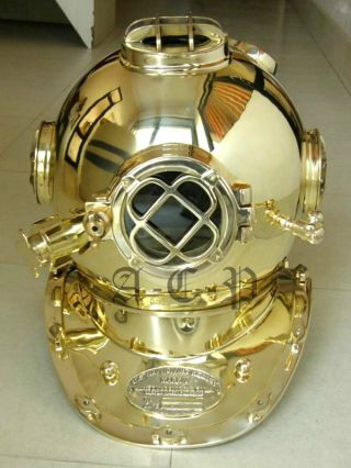 Us Navy Diving Helmet Mark V - Nautical Brass Diver ' S Helmet Decorative Prop photo
