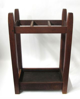 Antique Arts & Crafts Mission Oak Gustav Stickley 3 Slot Umbrella Stand 55 Yqz photo