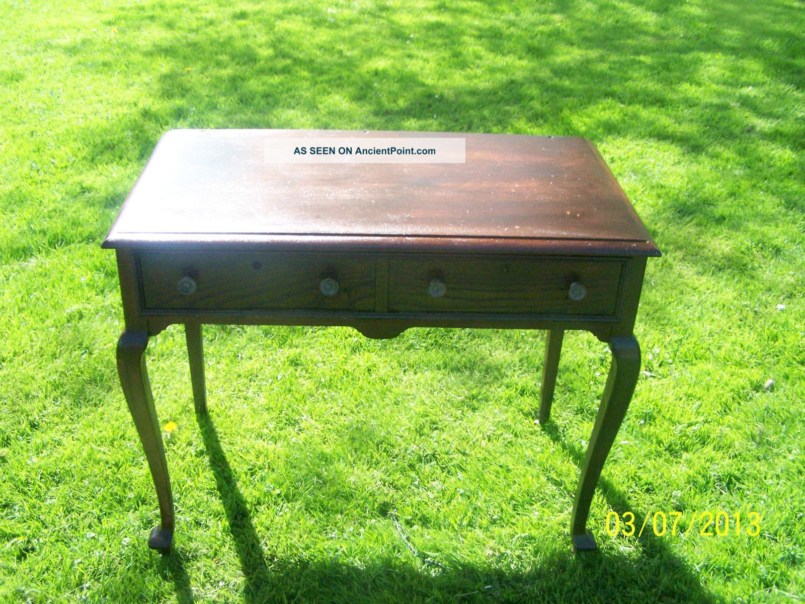 Antique 2 Draw Vintage Desks With Caster Wheels Front Claw Feet 1800-1899 photo