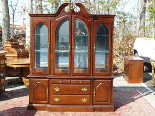 American Drew Cherry 4 Door Lighted China Cabinet Breakfront photo