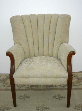 Gorgeous Vintage Wingback Arm Chair Designer Fabric Tufted Decorative Nails photo