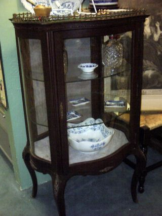 Elegant Antique French Curved Glass Curio Cabinet Petite European photo