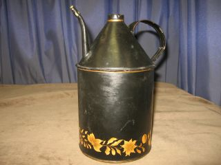 Antique Tole Oil Gas Can Painted Toleware Handle Unusual Sm Spout Brass Tip photo