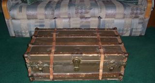 Antique Canvas Leather Flat Top Wood Slat Steamer Trunk Coffee Table Decor photo