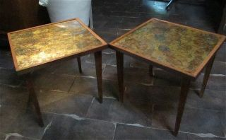 Pair Reversed Painted Glass Mid Century Side Tables Retro Vintage Hollywood photo