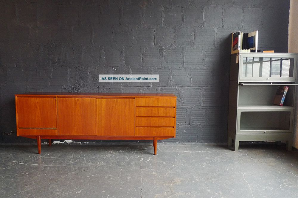 Teak Long Credenza With Integrated Door Pulls Post-1950 photo