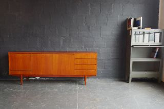 Teak Long Credenza With Integrated Door Pulls photo