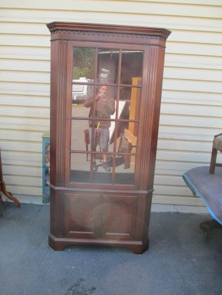 51960 Mahogany Corner China Cabinet Curio photo