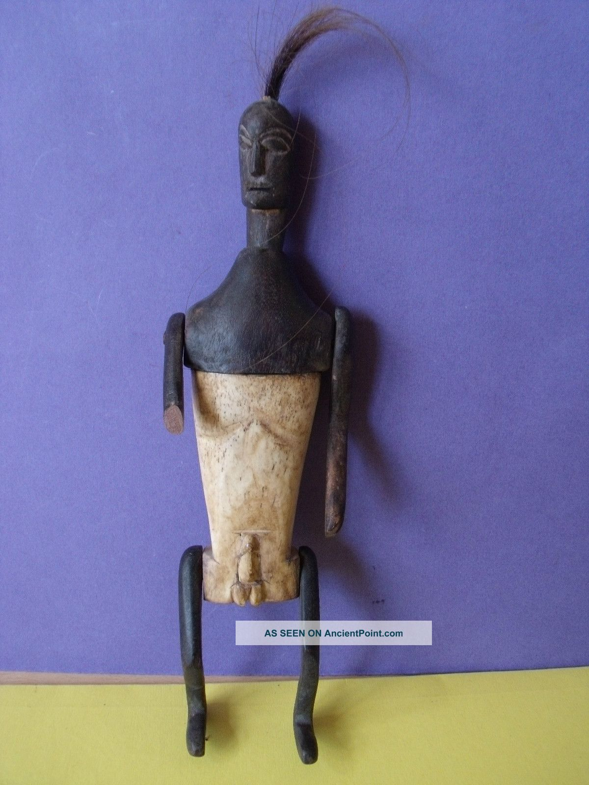 Unusual Vintage African Carved Tribal Vessel Depicting Male Figure Other photo