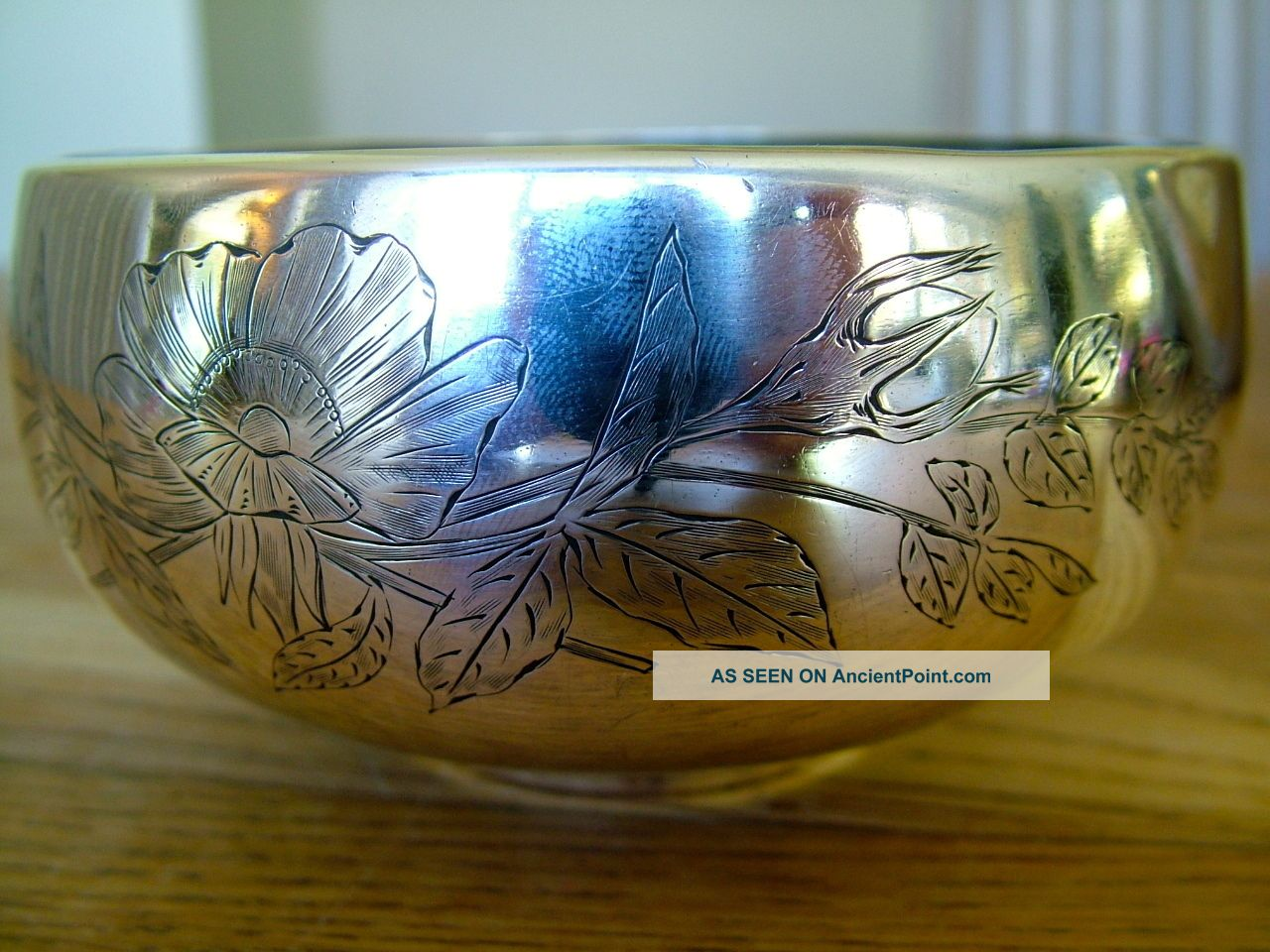 227gram Russian Soviet Bowl Engraved With Flowers Signed & Hallmarked Not Scrap Other photo