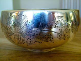 227gram Russian Soviet Bowl Engraved With Flowers Signed & Hallmarked Not Scrap photo