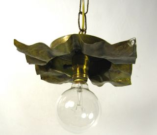 Pendant Cast Brass Hammered Vintage Antique Lamp Shade Re Purpose Custom Design photo