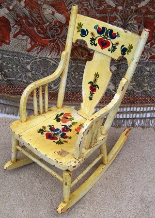Vintage Childrens Rocking Chair - Flowers Hand Painted photo