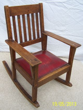 Vintage Childrens Oak Mission Rocking Chair photo