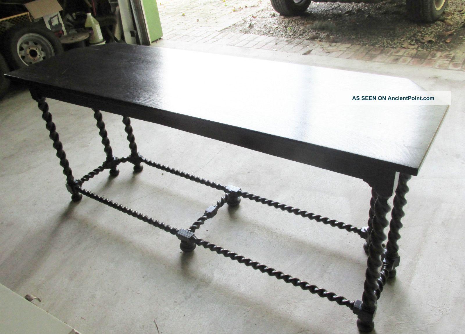 Long Stickley Brothers Dark Wood Barley Twist Sofa Console Table