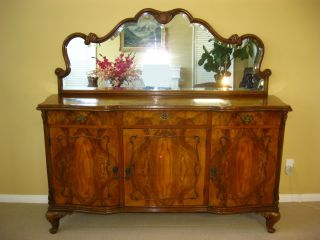 Exquisite Vintage Burl Wood Buffet W/ Mirror Sideboard Credenza Onlays Carvings photo