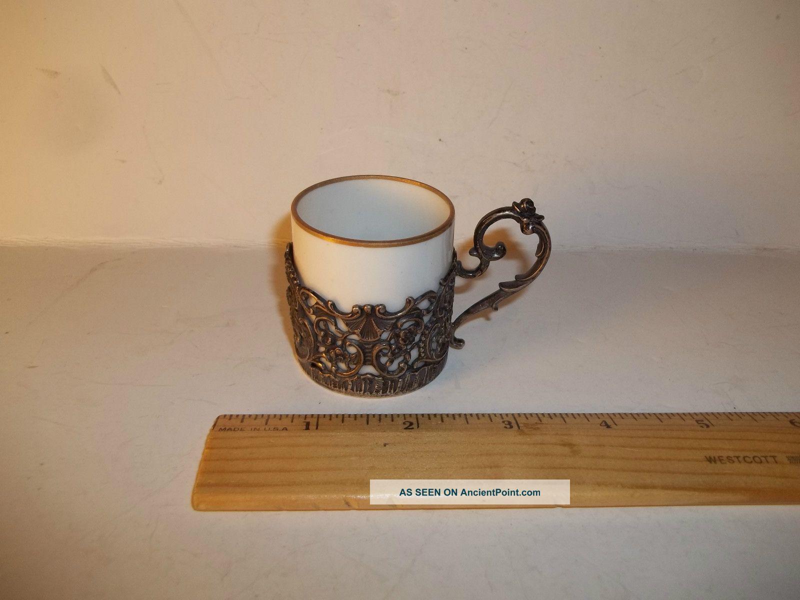 Vintage German 800 Silver,  Tea Holder & Cup With Cherub Design,  Exc.  Condition Silver Alloys (.800-.899) photo