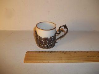 Vintage German 800 Silver,  Tea Holder & Cup With Cherub Design,  Exc.  Condition photo