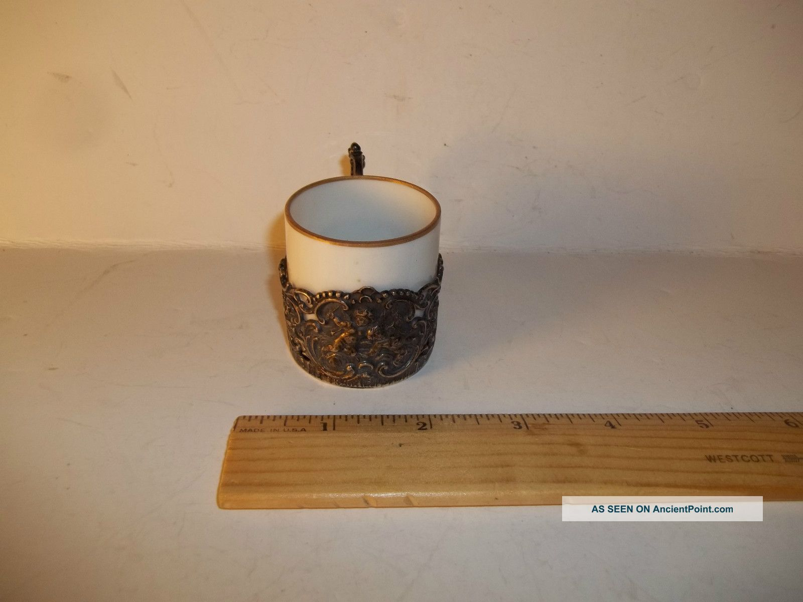 Vintage German 800 Silver, Tea Holder & Cup With Cherub Design, Exc ...