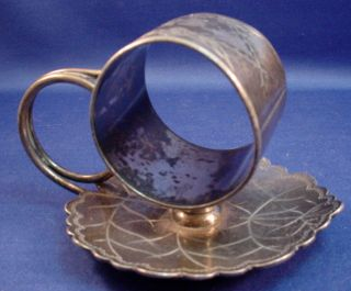 Figural Napkin Ring Scalloped Leaf - Silver Plate - Victorian - Toronto Sp Co. photo