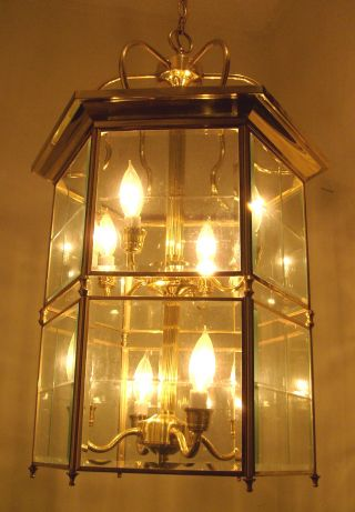 Vtg.  Retro Large Solid Brass Lantern Beveled Glass Quality Chandelier Fixture photo