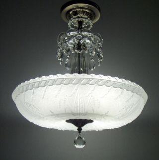 Large Vintage Victorian Art Deco Glass Chandelier Antique Ceiling Light Fixture photo