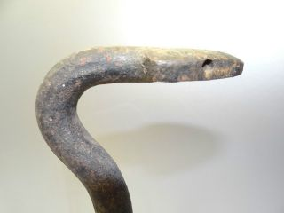 Antique Wrought Iron Metal Claw Foot Serpent Snake Reptile Fireplace Andirons Nr photo