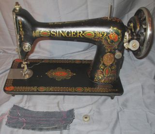 Serviced Antique 1924 Singer 66 - 4 Red Eye Treadle Sewing Machine Works See Video photo