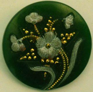 Antique Dark Green Glass Button Low Relief Flower Gold Inset 6 Pt Star 3/4