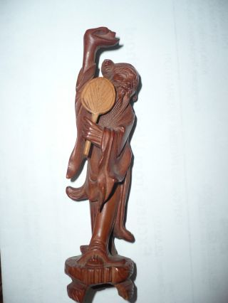 Antique Chinese Hand Carved Hard Wood Miniature Figurin Men With Fan photo