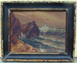 Antique French Marine Seascape Oil Painting Board Waves Rocks Signed C1910 Nr photo