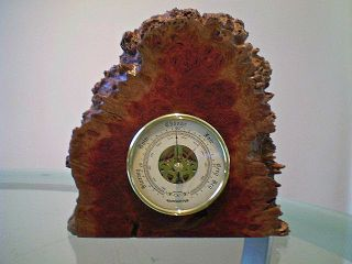 Australian Red Mallee Burl Wood Mantle Barometer photo