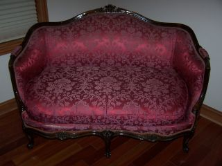French Silk Louis Xv Style Carved Sofa Settee Canape Loveseat C.  1910 - 30 Chicago photo
