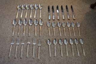 Old Vintage 1941 Set Of 38 Fashion Silverplate Sears Roebuck Diplomat Flatware photo